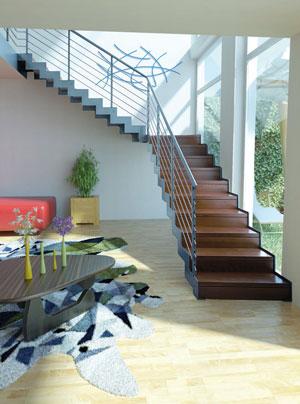 L\'escalier moderne acier et bois – Escaliers 51